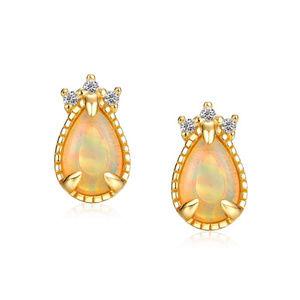 Opal Stud Earrings 6x4mm Pear Shaped Silver Studs